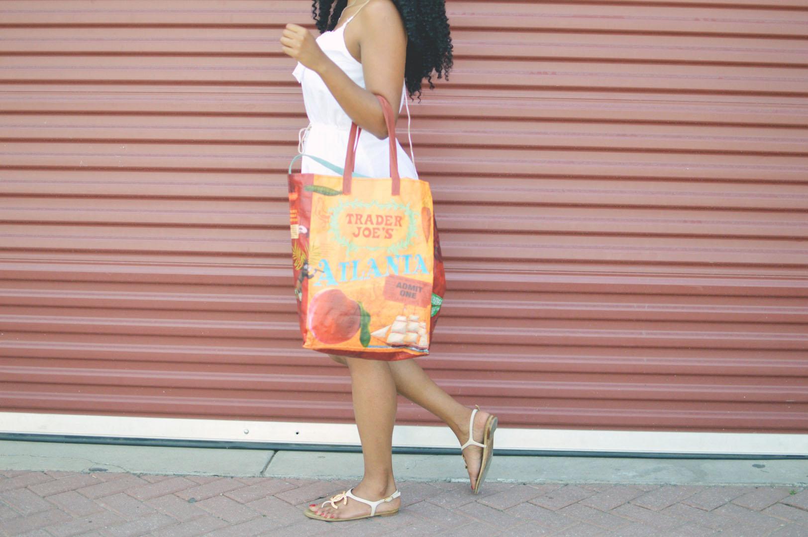 Posing with reusable bag